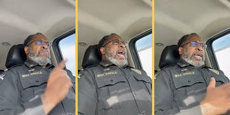 A cop ranting while driving.