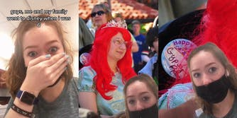 """young woman with hand over mouth, surprised with caption """"guys, me and my family went to disney when i was 6"""" (l) a young girl dressed as Ariel from The Little Mermaid (r) a button showing """"Happy"""" and """"Gypsy Rose"""" (r)"""