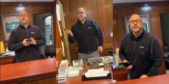 man behind desk uses phone and gestures