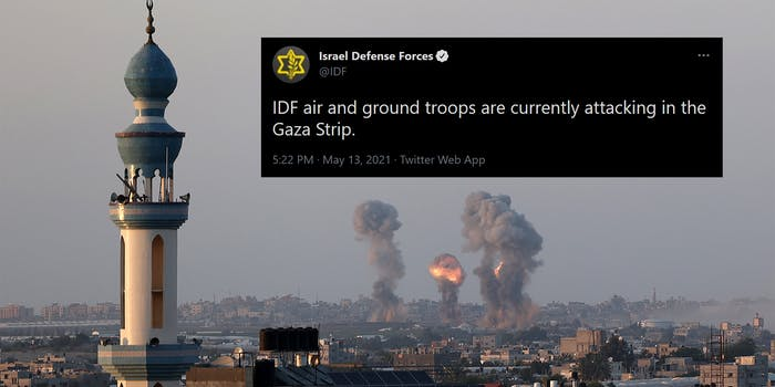 """Israeli air strikes on the city of Rafah in the southern Gaza Strip with tweet """"IDF air and ground troops are currently attacking in the Gaza Strip."""""""
