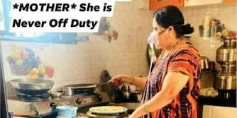 a woman cooking while on oxygen support