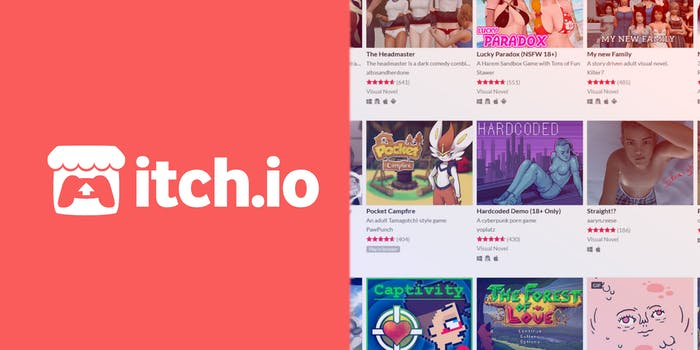 A side-by-side comparison of itch.io's logo and its NSFW games