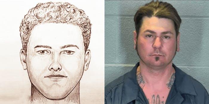 Artist rendering of a murder suspect (l) James Chadwell mugshot (r)