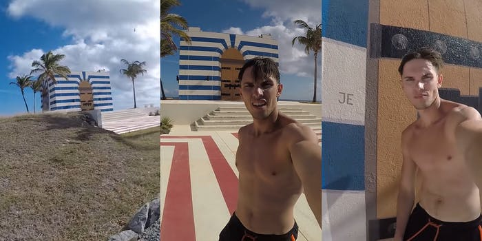 """blue and white building with palm trees (l) man in front of building (c) man in front of door with letters """"JE"""" (r)"""