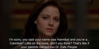 Jodie Foster in Silence of the Lambs looking at camera.