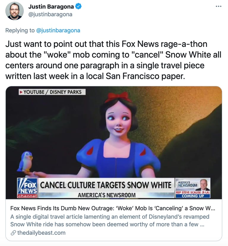 """Just want to point out that this Fox News rage-a-thon about the """"woke"""" mob coming to """"cancel"""" Snow White all centers around one paragraph in a single travel piece written last week in a local San Francisco paper."""