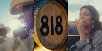 men in stetsons sip tequila (l) barrel with 818 painted on it (c) kendal jenner sipping tequila (r)