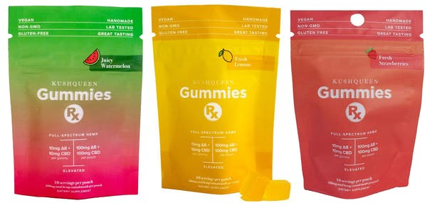 Kush Queen's Delta 8 edible products in watermelon, lemon, and strawberry