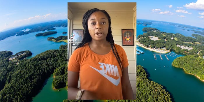 young girl over lake lanier background