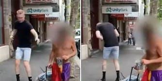 A man pretending to sneeze on a homeless man.