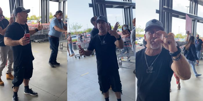 man gesturing and yelling at customers in grocery store