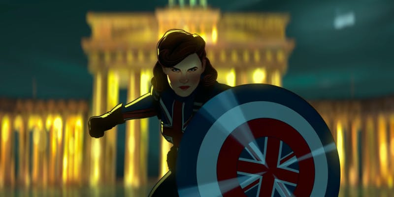 peggy carter carrying a shield