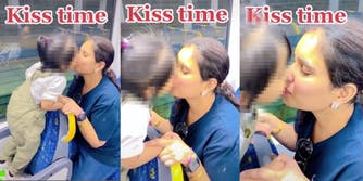 Mother and daughter kissing on train