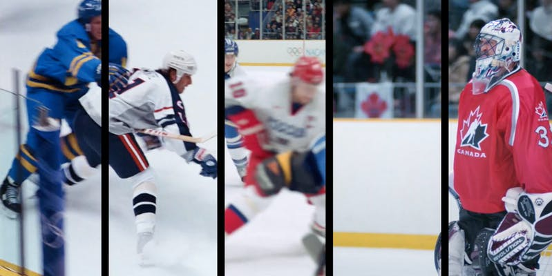 five-split of hockey players at the olympics
