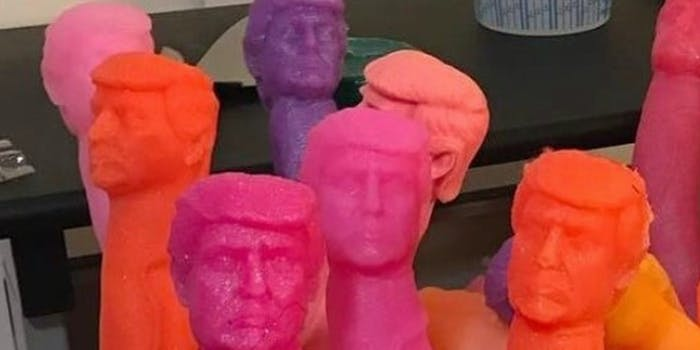Plastic dongs with Donald Trump's head.