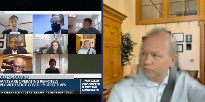 A group of talking heads (L) and a man wearing a seatbelt in a fake living room (R).