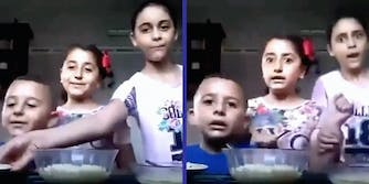 Three children making a cooking video.