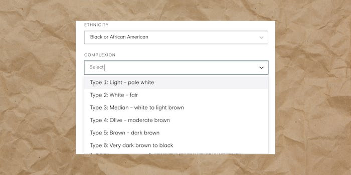 """Box with """"Ethnicity: Black or African American - Complexion: Select Type 1: Light - pale white Type 2: White - fair Type 3: Median - white to light brown Type 4: Olive - moderate brown Type 5: Brown - dark brown Type 6: Very dark brown to black"""" over paper bag background"""