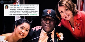 A tweet next to Nancy Pelosi and Willie McCovey