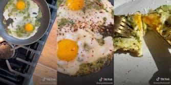 Screenshots from a TikTok making pesto eggs