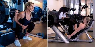 pregnant woman doing squats (l) and leg presses (r)