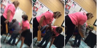 Two women in pink shirts restrain and assault a child with a wooden paddle.