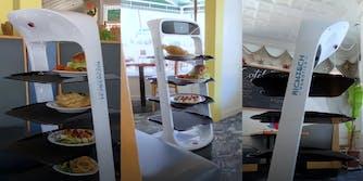 A robot serving food