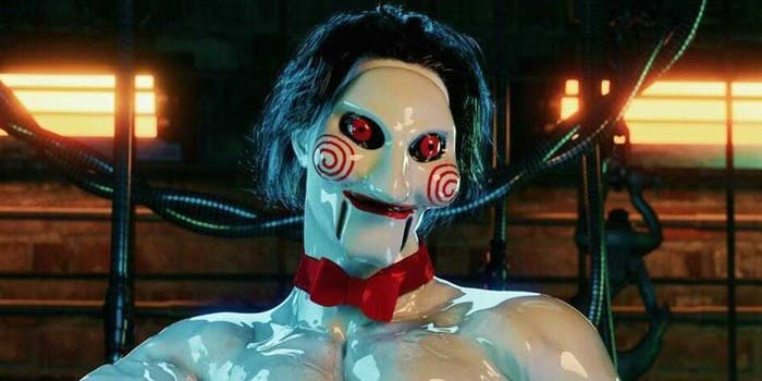Jigsaw with red bow tie