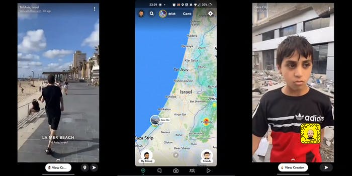 people enjoying a sunny day at the beach, Tel Aviv (l) snapchat map of Israel (c) young boy stands in front of bombed out rubble, Gaza City (r)