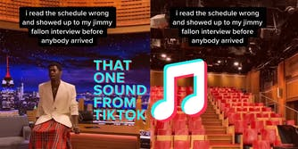"""lil nas x sitting on desk with caption """"i read the schedule wrong and showed up to my jimmy fallon interview before anybody arrived"""" (l) empty theater (r) That One Sound from TikTok logo"""