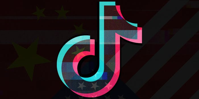 tiktok logo over chinese and american flag background