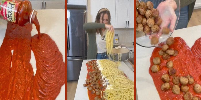 A woman making pasta on a table.