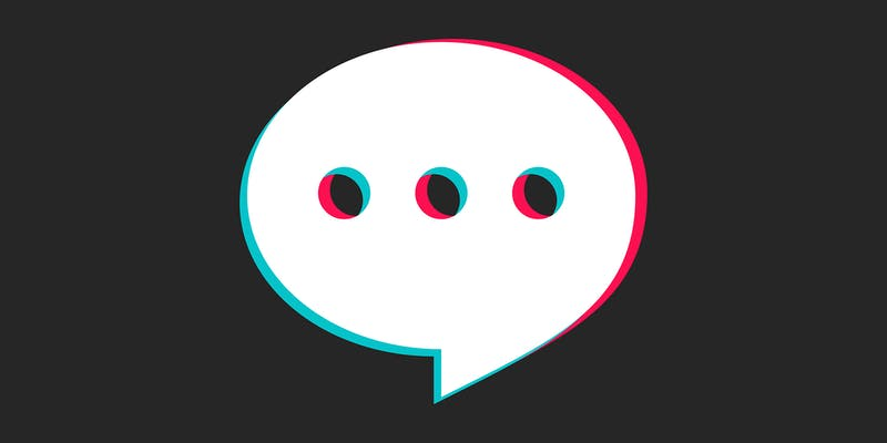 speech bubble with ellipses, made in the tiktok logo style