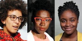 timnit Gebru (l) Joy Buolamwini (c) Deb Raji (r)