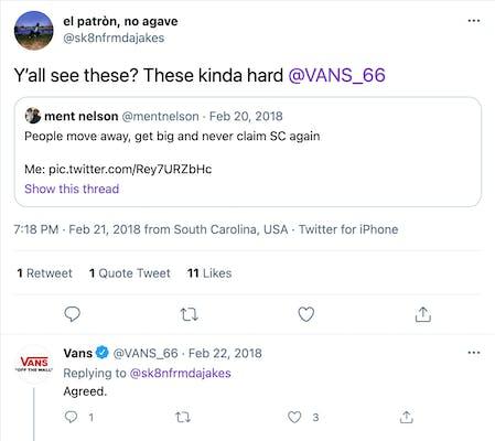 twitter screengrab of interaction between vans and @sk8nfrmdajakes