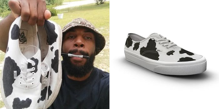 man showing off custom cow print vans with sharpie marker in his mouth (l) vans official cow print sneaker (r)