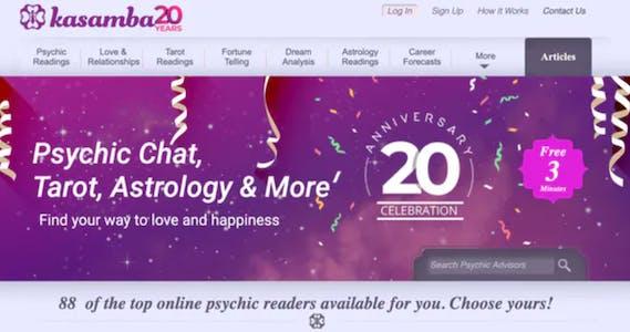 screenshot of kasamba's homepage