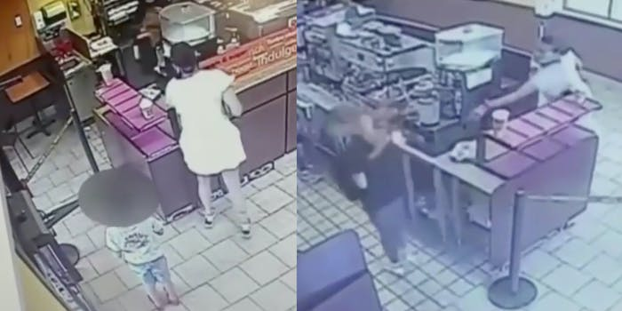 woman on security camera throwing coffee at teen worker