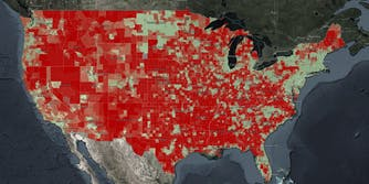 A map released by the NTIA that shows 'indicators of broadband need' across the United States. The map highlights the digital divide in the country.
