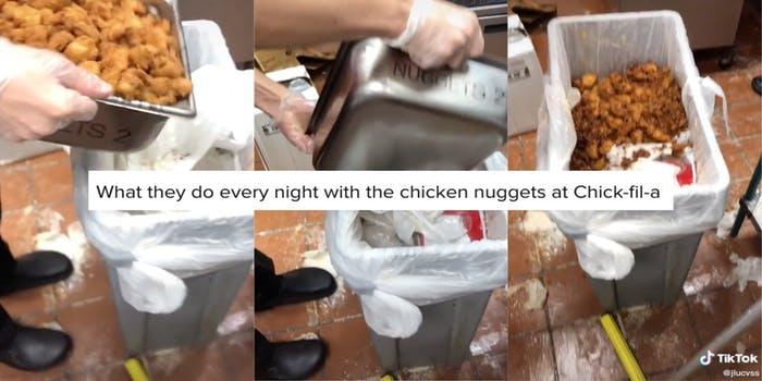 """Three panel screenshot of a TikTok showing a Chick-fil-A employee throwing a full tray of chicken nuggets away with a screenshot of the video caption that says, """"What they do every night with the chicken nuggets at Chick-fil-a"""""""