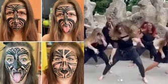 """Screenshots of Czech Republic dance group with face painted Maori face tattoos on the left and performing a """"Bollywood Haka"""" dance fusion to the right"""
