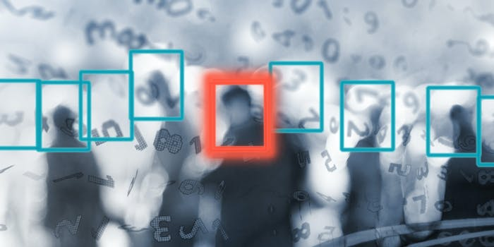 A facial recognition illustration showing people walking with squares over their faces. One person has a red square over them.
