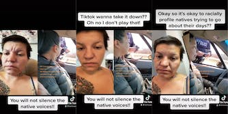 Three panel screenshot from a TikTok showing a police officer pulling over a First Nation person for a breathalyzer test