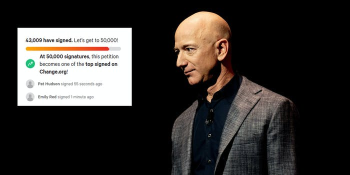 Amazon CEO Jeff Bezos looking off to the left. Next to him is a screenshot of a Change.org petition people are signing urging him not to return to Earth following his trip to space.