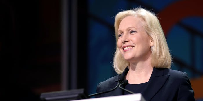 Sen. Kirsten Gillibrand, who reintroduced the Data Protection Act, speaking at a podium in 2019.