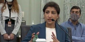 FTC Chairwoman Lina Khan testifying before Congress.