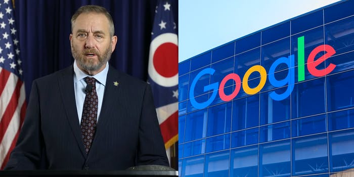 Ohio Attorney General Dave Yoast side by side with a picture of the Google headquarters in California.