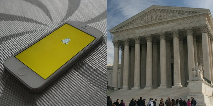 A side by side of a phone showing the Snapchat logo and the Supreme Court of the United States.