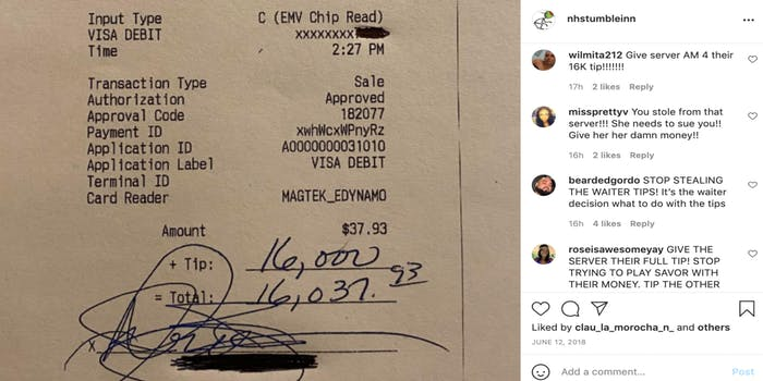 Receipt showing $16,000 tip on the left and a screenshot from the Stumble Inn's latest Instagram post with comments saying the server should get to keep the entire tip