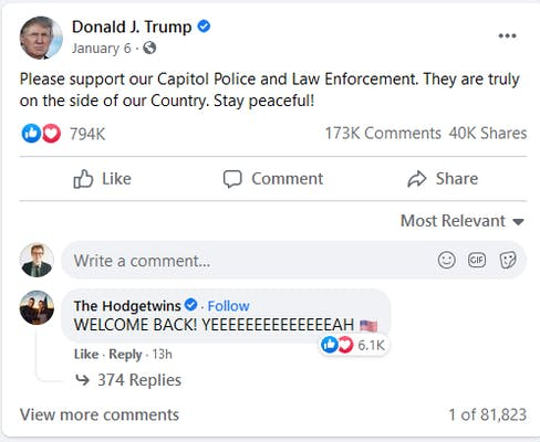 A screenshot of the dormant Facebook page for Donald Trump. In a comment under his Jan. 6 post, someone erroneously welcomed him back on Wednesday evening.